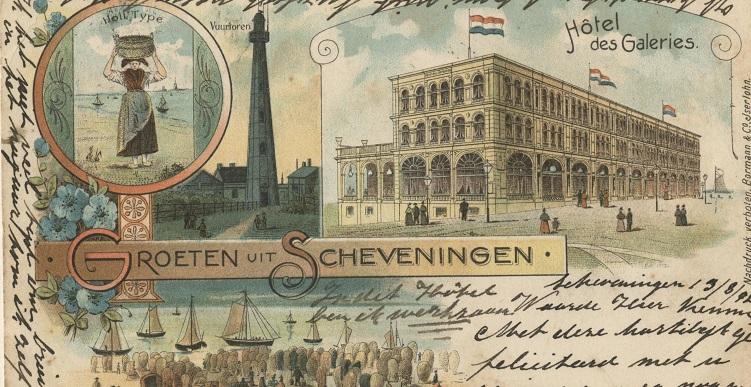 Ansichtkaart Groeten uit Scheveningen circa 1899 uitgave Bormann & Co
