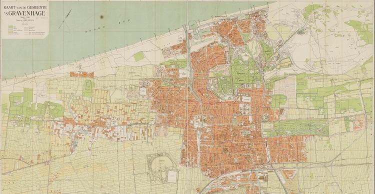 Kaart van Den Haag in 1924 uitgave Smulders & Co.