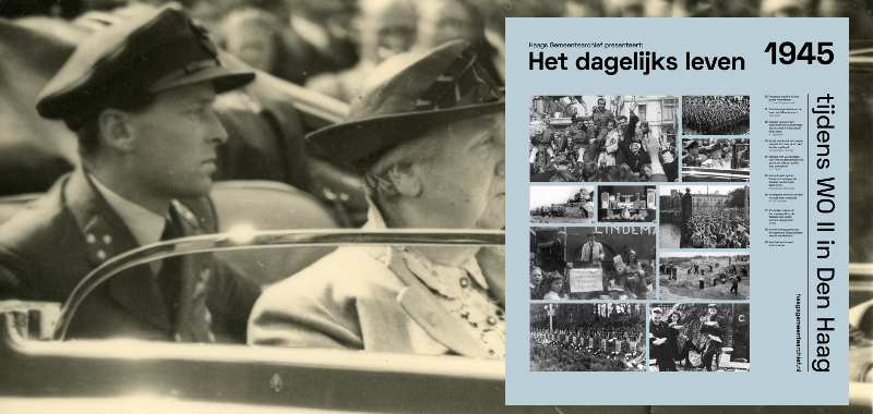 1945, Intocht van koningin Wilhelmina. In de auto ook haar adjudant, kapitein-vlieger E. Hazelhoff Roelfzema | Fotograaf: S. Oppelaar