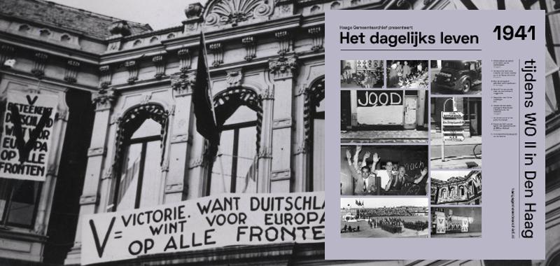 1941 Spandoek van de V-actie op het paleis Kneuterdijk