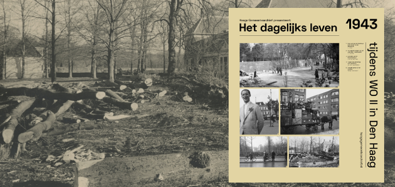 1943, Zorgvliet, gekapte bomen bij het Catshuis. Rechts de voorgevel van het Catshuis, links het koetshuis