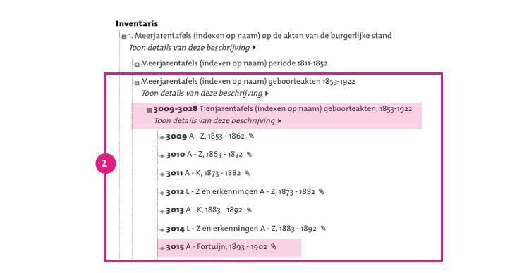 2/11. Kies de relevante beginletter (van de achternaam) of achternaam en de relevante periode.