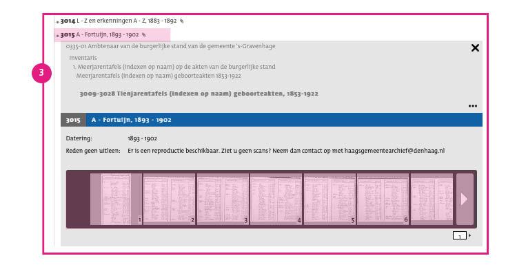 3/11. Klik op het inventarisnummer. Onder het inventarisnummer worden de scans weergegeven.