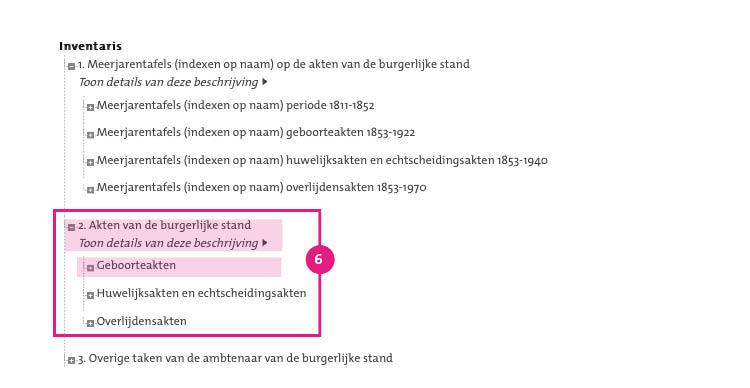 6/11. Met de aktedatum (en eventueel het aktenummer) kunt u de akte opzoeken in de akten van de burgerlijke stand. Onthoud of noteer de aktedatum en het aktenummer, en ga terug naar de inventaris. Klik op '2. Akten van de burgerlijke stand' en kies vervolgens de relevante aktesoort; in deze zoekhulp de 'geboorteakten'.