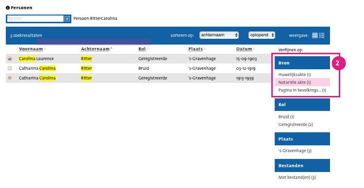 2/7. Deze zoekopdracht levert de volgende resultaten op: rechts op het scherm, onder 'Bron' selecteert u 'Notariële akte'.