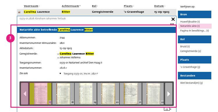 3/7. Klik vervolgens op de naam van de persoon. Een menu vouwt uit. Onder de gegevens zijn de scans van het repertorium weergegeven.