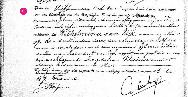 11/11. Zie hier: de overlijdensakte van Wilhelmina van Eijk.