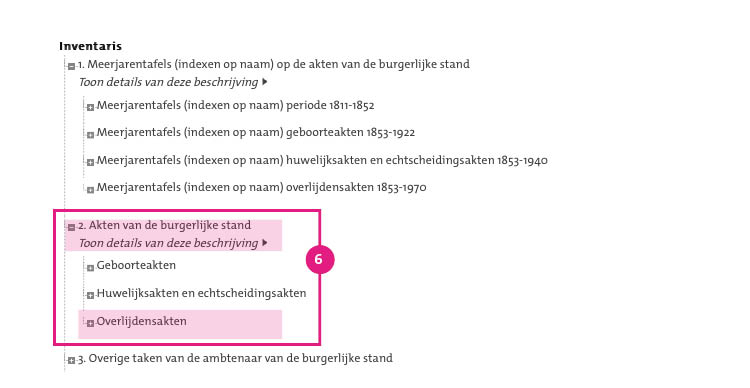 6/11. Met de aktedatum (en eventueel het aktenummer) kunt u de akte opzoeken in de akten van de burgerlijke stand. Onthoud of noteer de aktedatum en het aktenummer, en ga terug naar de inventaris. Klik op '2. Akten van de burgerlijke stand' en kies vervolgens de relevante aktesoort; in deze zoekhulp de 'overlijdensakten'.